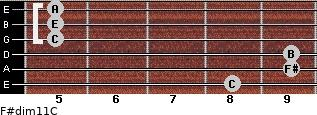 F#dim11/C for guitar on frets 8, 9, 9, 5, 5, 5