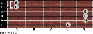 F#dim11/C for guitar on frets 8, 9, 9, 9, 5, 5