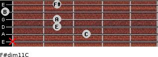 F#dim11/C for guitar on frets x, 3, 2, 2, 0, 2