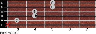 F#dim11/C for guitar on frets x, 3, 4, 4, 5, 5