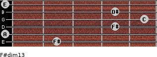 F#dim13 for guitar on frets 2, 0, 4, 5, 4, 0