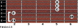 F#dim13 for guitar on frets 2, 6, 2, 5, 5, 5