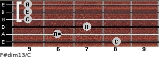 F#dim13/C for guitar on frets 8, 6, 7, 5, 5, 5