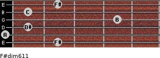 F#dim6/11 for guitar on frets 2, 0, 1, 4, 1, 2