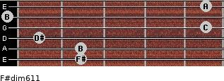 F#dim6/11 for guitar on frets 2, 2, 1, 5, 0, 5