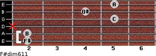 F#dim6/11 for guitar on frets 2, 2, x, 5, 4, 5