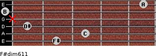 F#dim6/11 for guitar on frets 2, 3, 1, x, 0, 5