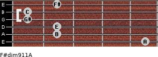 F#dim9/11/A for guitar on frets 5, 2, 2, 1, 1, 2