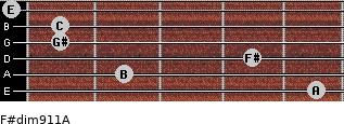 F#dim9/11/A for guitar on frets 5, 2, 4, 1, 1, 0