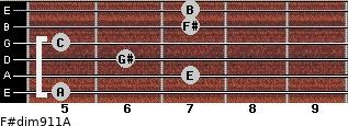 F#dim9/11/A for guitar on frets 5, 7, 6, 5, 7, 7