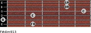 F#dim9/13 for guitar on frets 2, 0, 2, 5, 4, 4