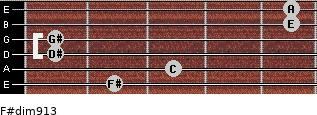 F#dim9/13 for guitar on frets 2, 3, 1, 1, 5, 5