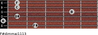 F#dim(maj11/13) for guitar on frets 2, 0, 1, 4, 1, 1