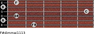 F#dim(maj11/13) for guitar on frets 2, 0, 1, 5, 0, 1
