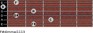 F#dim(maj11/13) for guitar on frets 2, 3, 1, 2, 0, 1