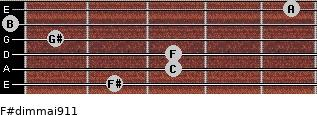 F#dim(maj9/11) for guitar on frets 2, 3, 3, 1, 0, 5