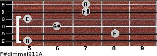 F#dim(maj9/11)/A for guitar on frets 5, 8, 6, 5, 7, 7