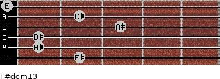 F#dom13 for guitar on frets 2, 1, 1, 3, 2, 0