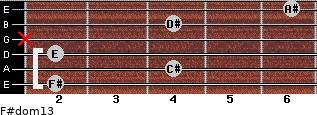 F#dom13 for guitar on frets 2, 4, 2, x, 4, 6