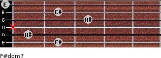F#dom7 for guitar on frets 2, 1, x, 3, 2, 0