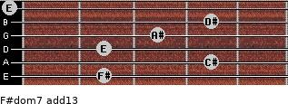 F#dom7(add13) for guitar on frets 2, 4, 2, 3, 4, 0