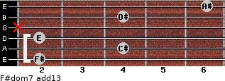 F#dom7(add13) for guitar on frets 2, 4, 2, x, 4, 6