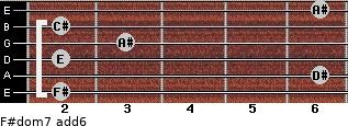 F#dom7(add6) for guitar on frets 2, 6, 2, 3, 2, 6