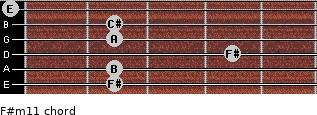 F#m11 for guitar on frets 2, 2, 4, 2, 2, 0
