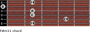 F#m11 for guitar on frets 2, 4, 2, 2, 0, 2