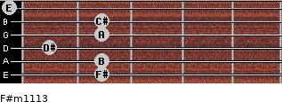 F#m11/13 for guitar on frets 2, 2, 1, 2, 2, 0