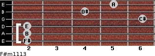 F#m11/13 for guitar on frets 2, 2, 2, 6, 4, 5