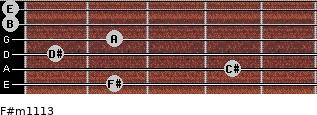 F#m11/13 for guitar on frets 2, 4, 1, 2, 0, 0