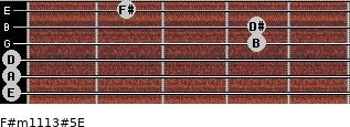 F#m11/13#5/E for guitar on frets 0, 0, 0, 4, 4, 2