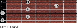 F#m11/13#5/E for guitar on frets 0, 2, 0, 2, 4, 2