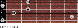 F#m11/13#5/E for guitar on frets 0, 5, 1, 2, 0, 2