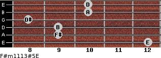 F#m11/13#5/E for guitar on frets 12, 9, 9, 8, 10, 10