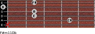 F#m11/Db for guitar on frets x, 4, 2, 2, 0, 2