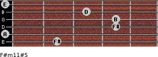 F#m11#5 for guitar on frets 2, 0, 4, 4, 3, 0