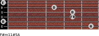 F#m11#5/A for guitar on frets 5, 0, 4, 4, 3, 0