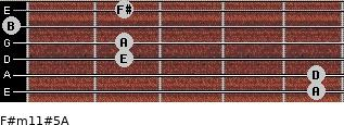 F#m11#5/A for guitar on frets 5, 5, 2, 2, 0, 2