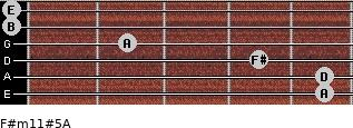 F#m11#5/A for guitar on frets 5, 5, 4, 2, 0, 0