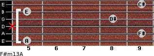 F#m13/A for guitar on frets 5, 9, x, 8, 5, 9