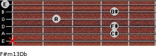 F#m13/Db for guitar on frets x, 4, 4, 2, 4, 0