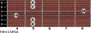 F#m13#5/A for guitar on frets 5, 5, 4, 8, 5, 5
