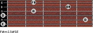 F#m13#5/E for guitar on frets 0, 5, 0, 2, 4, 2