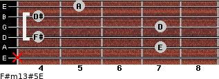 F#m13#5/E for guitar on frets x, 7, 4, 7, 4, 5