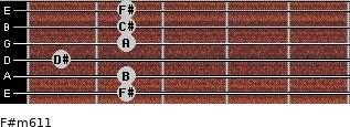 F#m6/11 for guitar on frets 2, 2, 1, 2, 2, 2