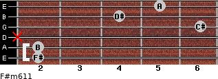 F#m6/11 for guitar on frets 2, 2, x, 6, 4, 5