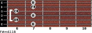 F#m6/11/B for guitar on frets 7, 6, 7, 6, 7, 7