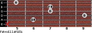 F#m6/11#5/Eb for guitar on frets x, 6, 9, 7, 7, 5